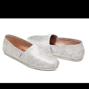 Toms - Ivory with silver floral print